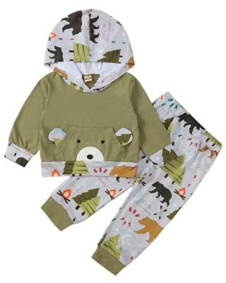 Set di pantaloni e top con cappuccio con stampa animalier per bambini