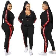 Plus Size Letter Print Long Sleeve Zipper Tracksuit