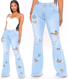 Plus Size High Waist Butterfly Flare Jeans