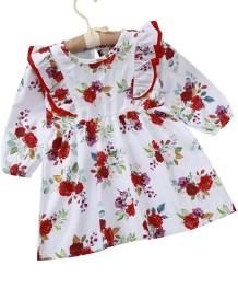 女の赤ちゃん秋の花柄フリルドレス