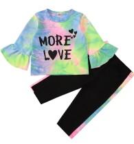 Kinder Mädchen Herbst MatchingTie Dye Shirt und Hosen Set
