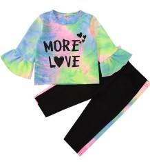 Conjunto de calças e camisa de tingimento de outono infantil infantil
