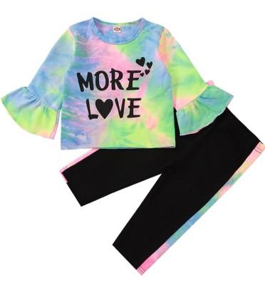 Kids Girl Autumn MatchingTie Dye Shirt and Pants Set