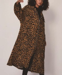 Autumn Leopard Print Zip Up Long Hoodie Jacket