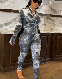 Autumn Tie Dye Ribbed Zip Up Bodycon Jumpsuit