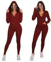 Herbst Sport Fitness Solid Plain Zip Up Hoodie Jumpsuit
