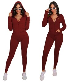 Autumn Sports Fitness Solid Plain Zip Up Hoodie Jumpsuit
