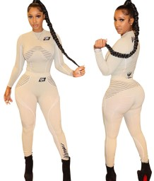 Sports Fitness Print Long Sleeve Shirt and Pants Set