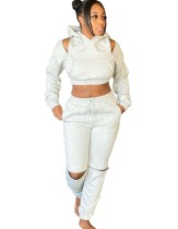 Autumn Solid Plain Zipper Hoody Trainingsanzug