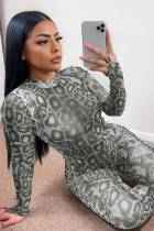 Party Sexy Snake Skin Long Sleeve Bodycon Jumpsuit