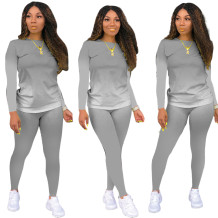 Herbst Casual Matching Gradient Shirt und Hosen Set
