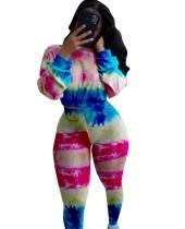 Ensemble haut court et pantalon décontractés colorés assortis à l'automne
