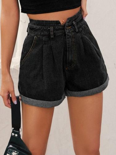 Autumn High Waist Pleated Denim Shorts
