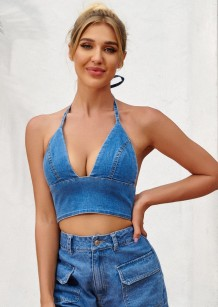 Summer Halter Strings Denim Bra Top