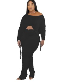 Autumn Solid Plain Irregular Top and Ruched Pants Set