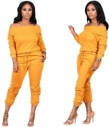 Off-shoulder effen effen trainingsjumpsuit met trekkoord