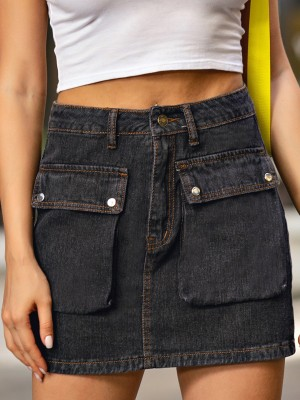 Mini-jupe en jean taille haute avec poches