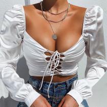 Otoño Vintage sólido liso con cordones sexy crop top