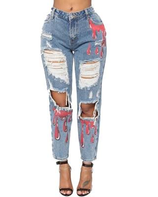 Jeans strappati alla moda con stampa blu