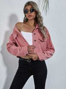 Autumn Pure Pink Button Up Short Jacket