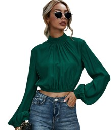 Autumn Green Puff Sleeve Turtleneck Crop Top