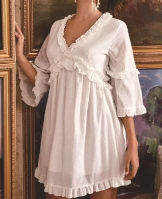 Robe blanche à volants taille haute col en V automne