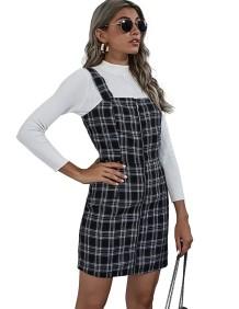 Mini-saia suspensa com estampa xadrez de outono