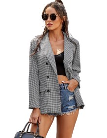 Autumn Plaid Print Button Up Long Blazer