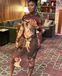 Tam Kollu Karakter Baskı Seksi Uzun Parti Elbise