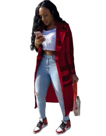 Autumn Plaid Print Long Coat with Full Sleeves