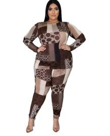 Plus Size Autumn Matching Print Shirt and Pants Set