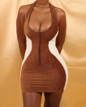 Sexy Contrast Low Back Halter Zipped Bodycon Dress