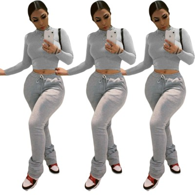 Solid Plain Matching Long Sleeve Crop Top and Track Pants Set