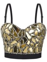 Top corto con cinturino push-up sexy in strass