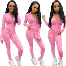 Solid Plain Sexy Long Sleeve Zip Up Bodycon Jumpsuit