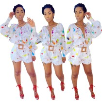 Autumn Casual Print White Long Sleeve Rompers