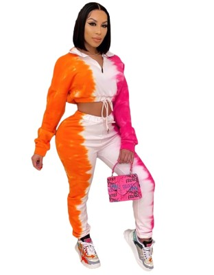 Conjunto de calças e top colorido casual colorido de manga comprida