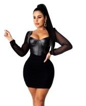 Robe moulante push-up noire sexy de fête d'automne