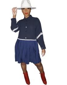 Vestido de camisa plissado Africa Patchwork com mangas compridas