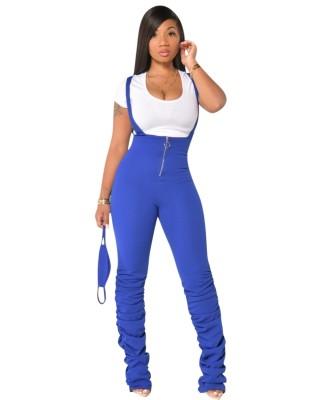 Solid Plain High Waist Suspender Stack Pants