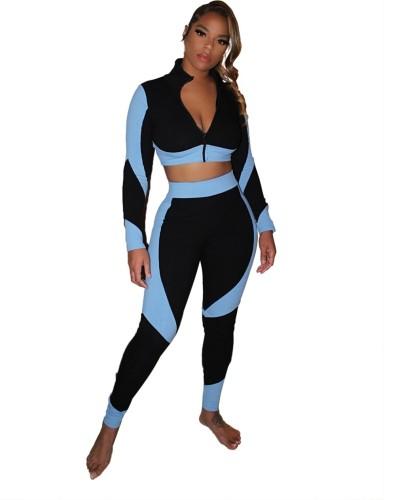 Conjunto de legging com zíper para esportes outonais contrastantes e cintura alta