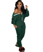 Solider Plain Zip Up Loose Hoody Trainingsanzug