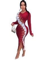 Autumn Lace Up Unregelmäßiges langes Partykleid mit vollen Ärmeln