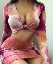Autumn Sexy Tie Dye Crop Top and Mini Skirt Set