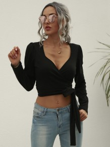 Autumn Black Sexy Long Sleeve Wrapped Crop Top