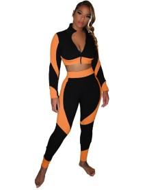 Ensemble haut court à glissière contrastante et legging taille haute Autumn Sports