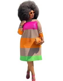 Büyük Beden Sonbahar Renkli A Kesim Elbise