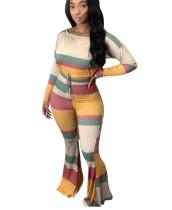 Conjunto de pantalón de campana y top corto de colores a juego de dos piezas de otoño