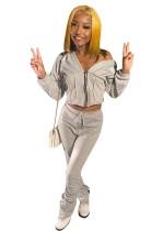 Set di pantaloni e top corto con cerniera semplice in due pezzi autunnali