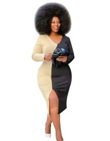 Plus Size Autumn Contrast Slit Langes kurviges Kleid